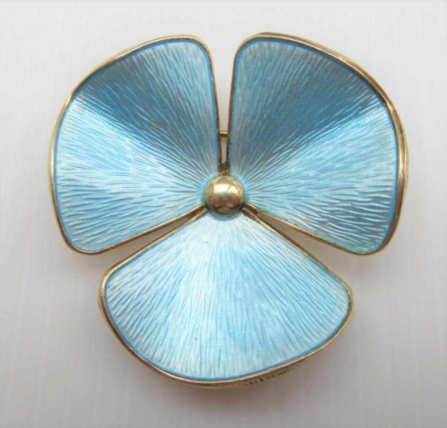 Ivar T Holt, Norway, Vintage Silver Gilt & Enamel Flower Head Brooch