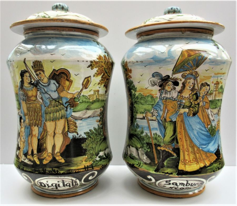 Pair of monumental drug jars (albarelli), Italian Majolica, Castelli, c1900