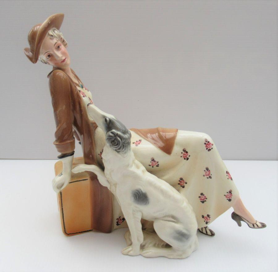 Katzhutte Art Deco Figurine, Lady with Borzoi, Model 677, 1930s
