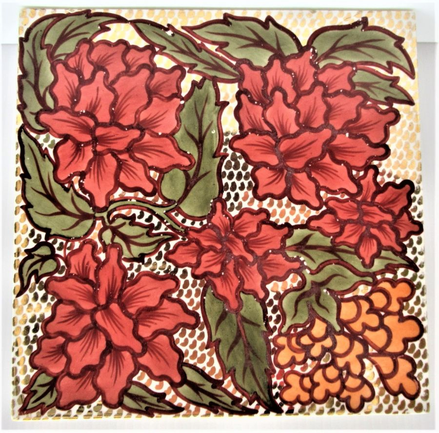 Unusual lustre effect Victorian tile possibly Maw & Co/Lewis F Day, c1900