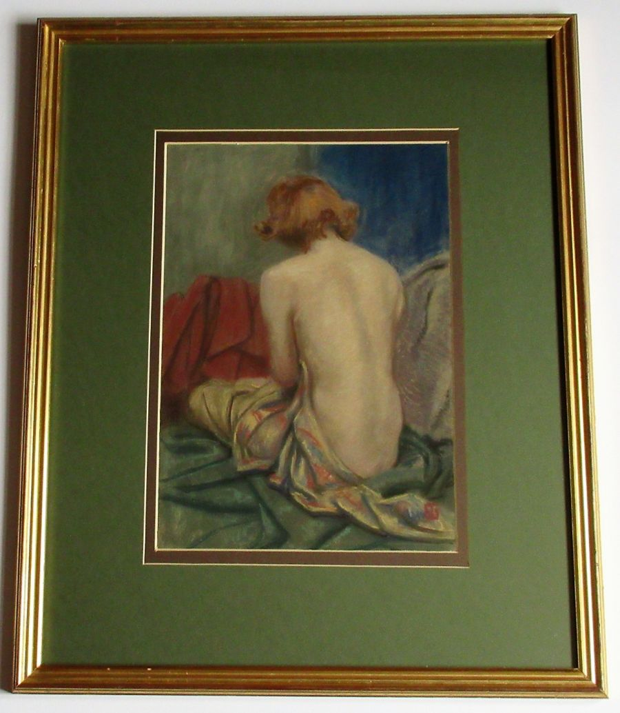 Original pastel, seated nude from the rear, c1930's, monogram EG, framed