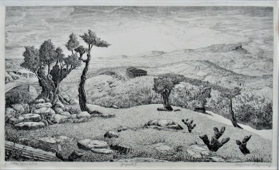 Original engraving, Hans Otto Schönleber (German), Girgenti II, 1926, unframed