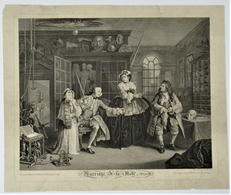 William Hogarth, Marriage-A-La-Mode, Plate III, first published state print 1745