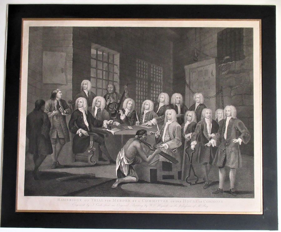 Antique print, William Hogarth, The Trial of Bambridge, 1803, period frame