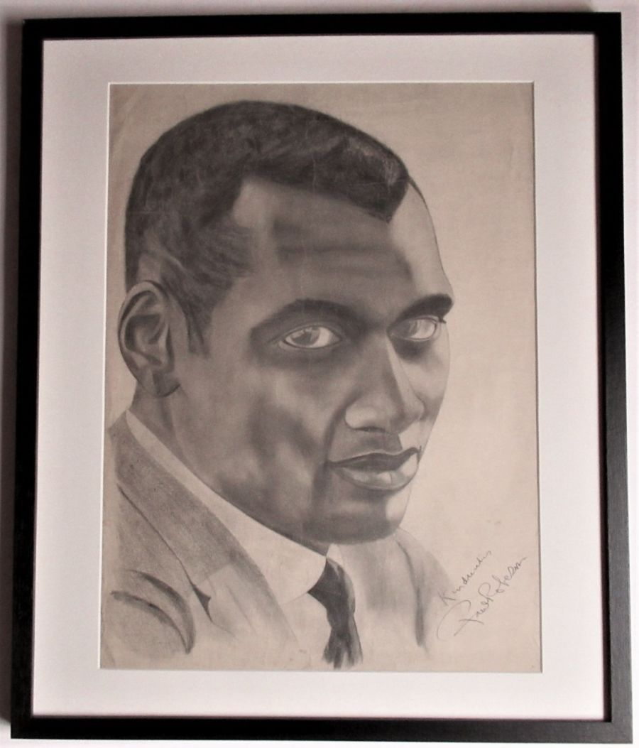 Large original autographed drawing of Paul Robeson, c1938, Reginald E Bass