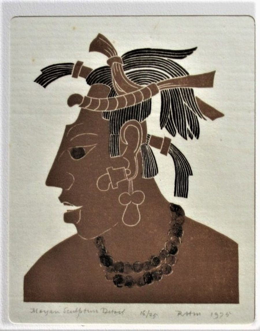 Robert Hunter Middleton linocut print, Mayan Scultpure detail, one of an edition of 25, signed and dated 1975