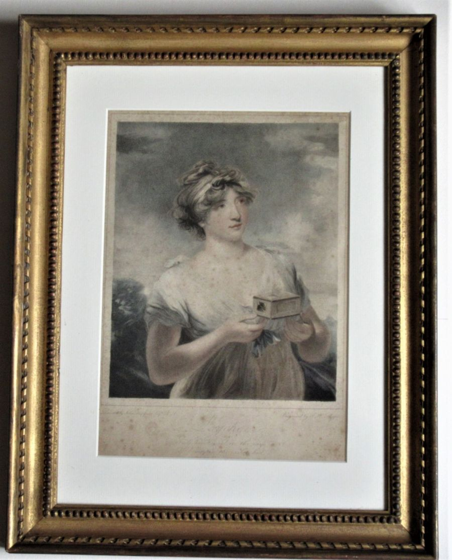 Antique print, Meyer after Hoppner, portrait of Mrs Paget as Psyche, 1807, in period frame