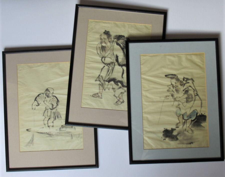 Three Chinese brush and ink paintings, 20th century, framed
