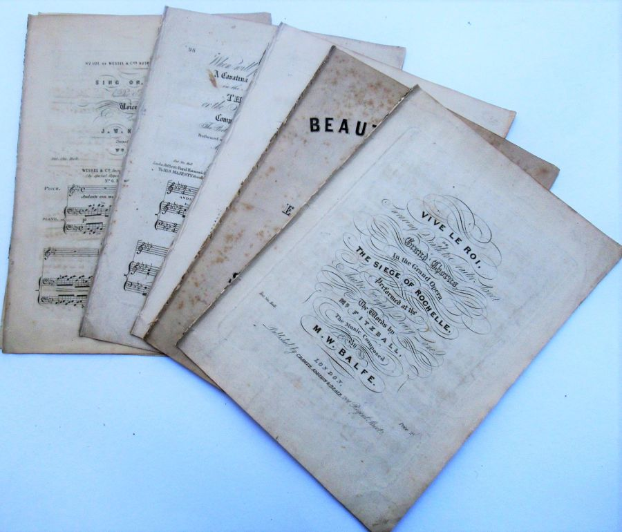 Antique sheet music, five songs, piano & voice, various composers c1850