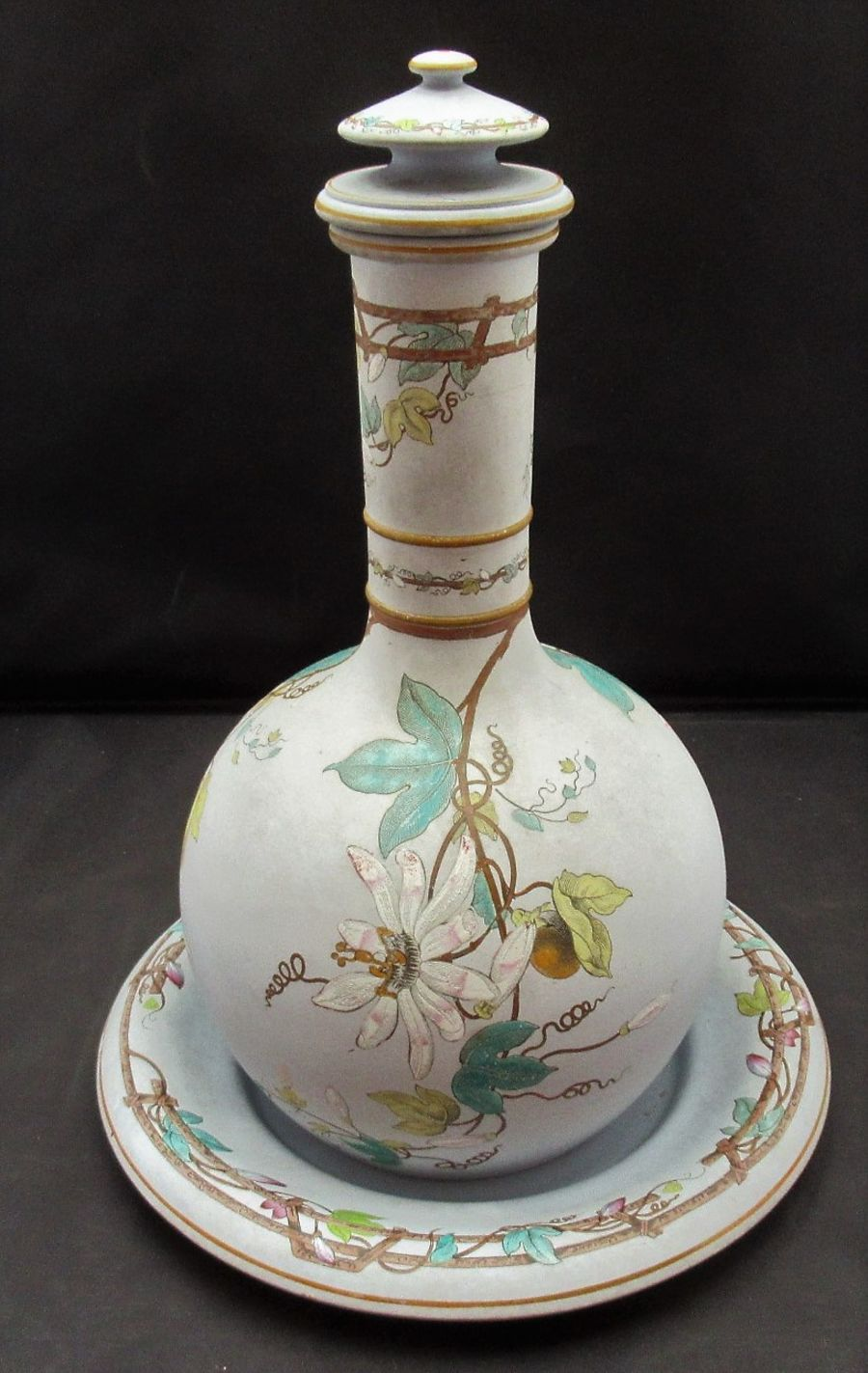 Copeland Late Spode covered jar and stand painted with Passion Flower, c1850