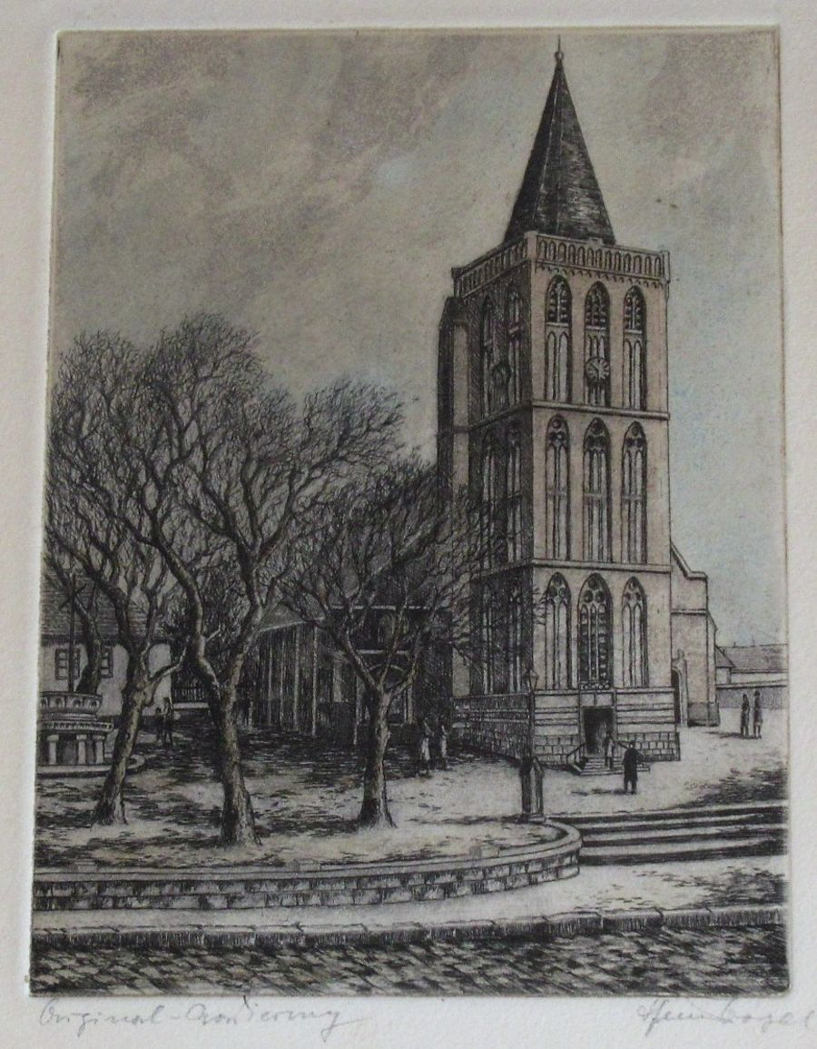 Heinz Vogel (German 1898-1977), original etching, Viersen Church, c1940, framed