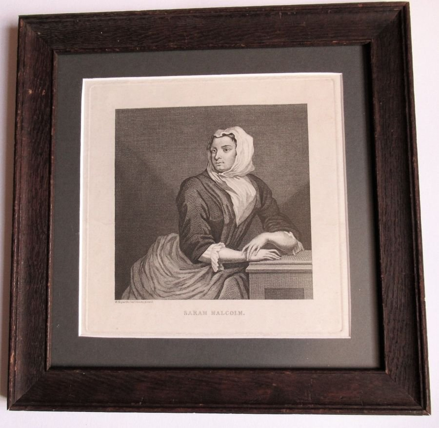 After William Hogarth, Sarah Malcolm, engraved 1733, crime interest, framed