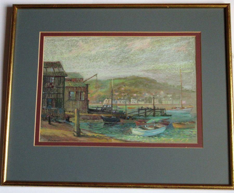 Harry Fred Darking, Morning Light Teignmouth Devon, pastel/watercolour, c1980