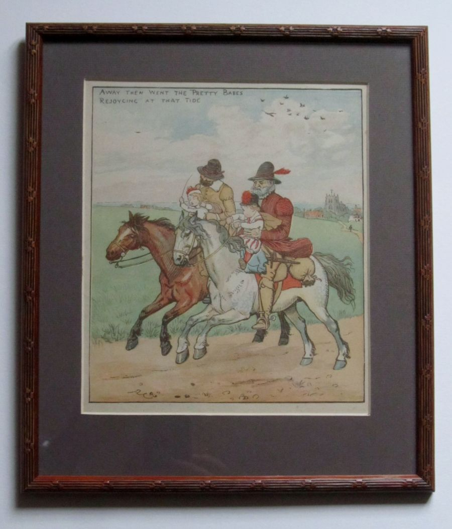 Antique children's print Babes in The Wood Randolph Caldecott 1879 framed