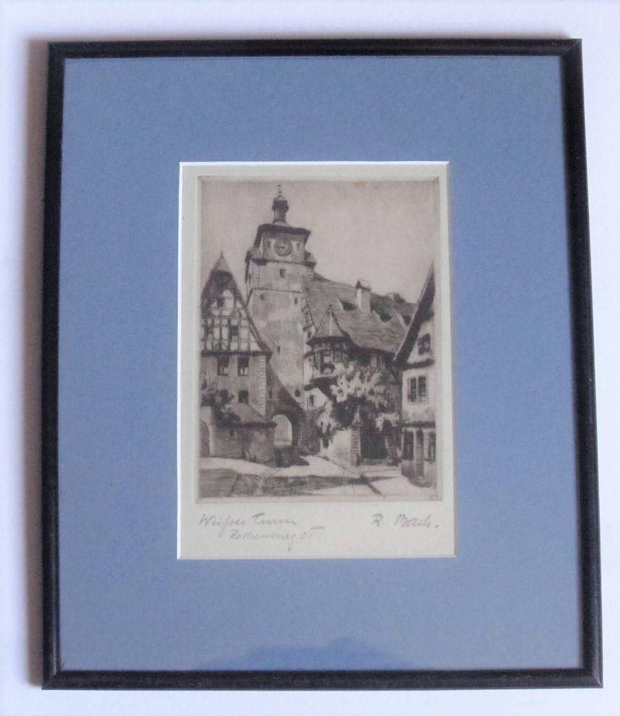 Weisser Turm Rothenburg OT, Germany, etching print c1930, framed, signed R Back