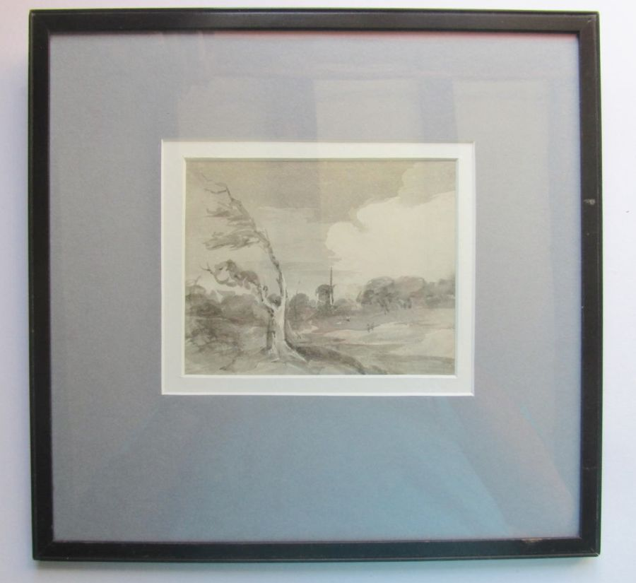 Original watercolour, grey wash, George Richard Vawser c1850 landscape with mill
