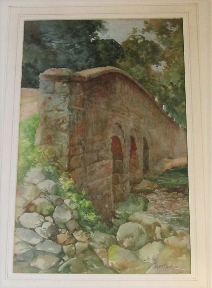 Large framed watercolour, Edward H Richardson signed c1930, Bridge in the Dales