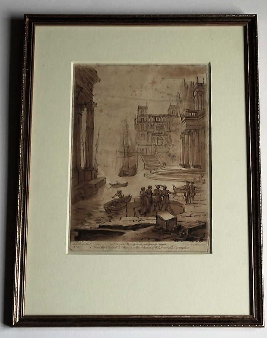 Original 1774 print Earlom after Claude le Lorrain, Embarkation of Santa Paula