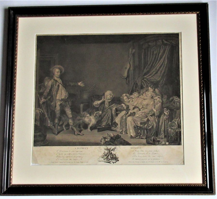 Original print after Jean-Baptiste Greuze, L'Heureux Ménage, c1778, unframed