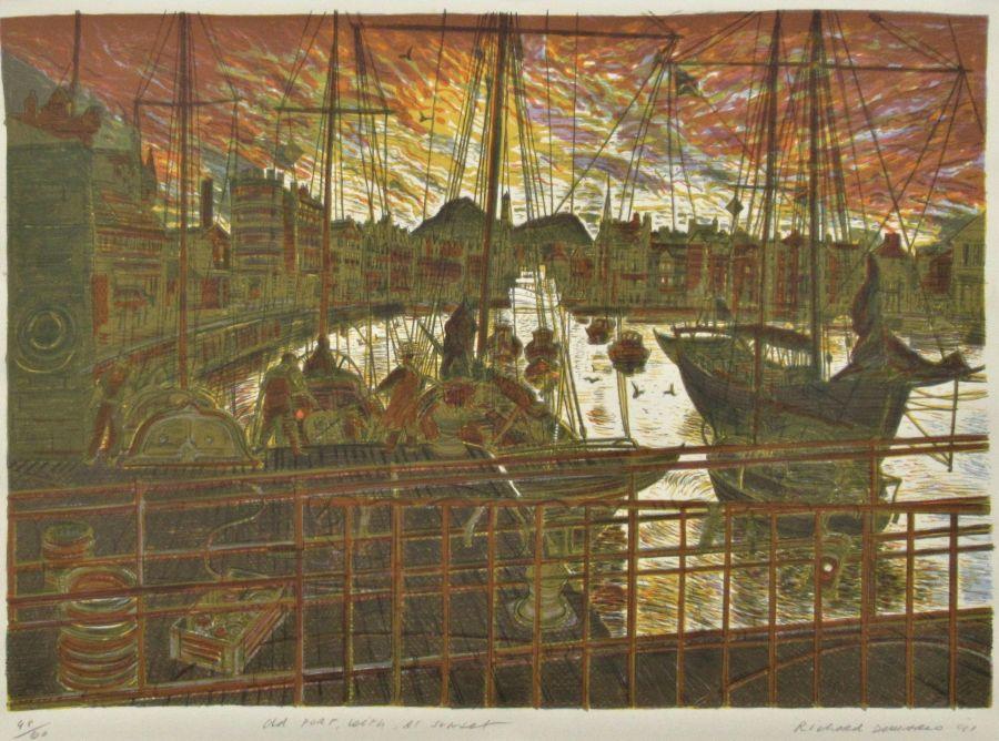 Large silkscreen print, Richard Demarco, Old Port Leith At Sunset,1991, 48/60