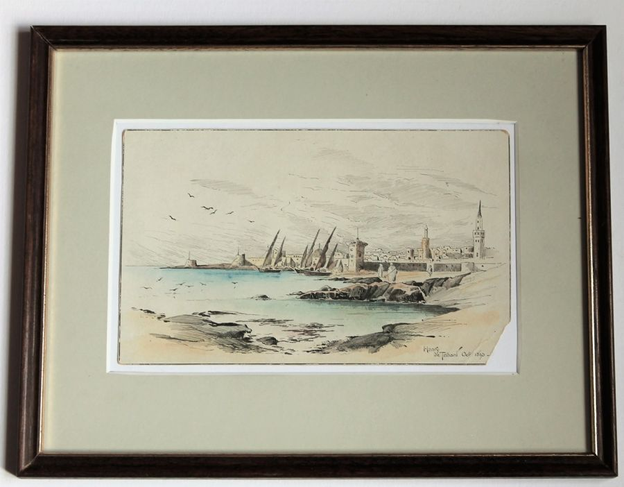 Small pen/watercolour drawing, coastal city signed Henry de Ternant 1893, framed