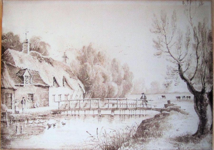 Unusual sepia wash drawing, Samuel Owen (attributed), Radcot Weir c1815 unframed