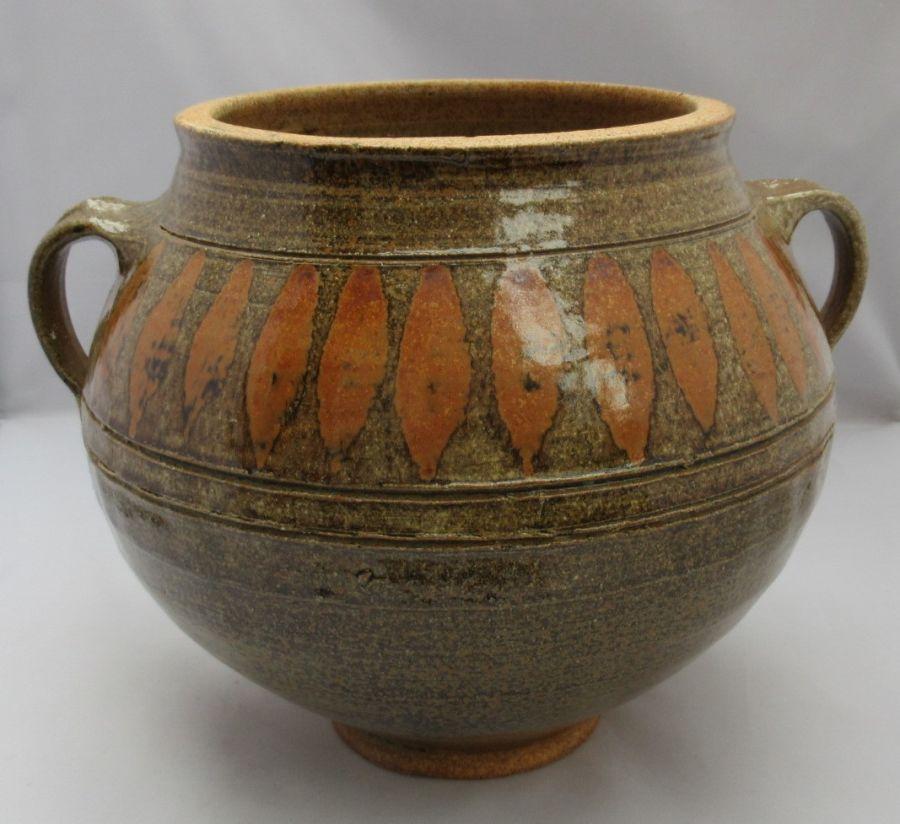 Large Studio stoneware pottery vase, Marie Hamer, British/American, c1985