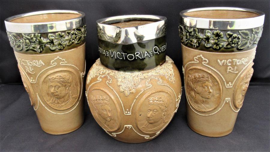 Doulton Lambeth jug & 2 beakers 1897 Queen Victoria Diamond Jubilee, silver rims