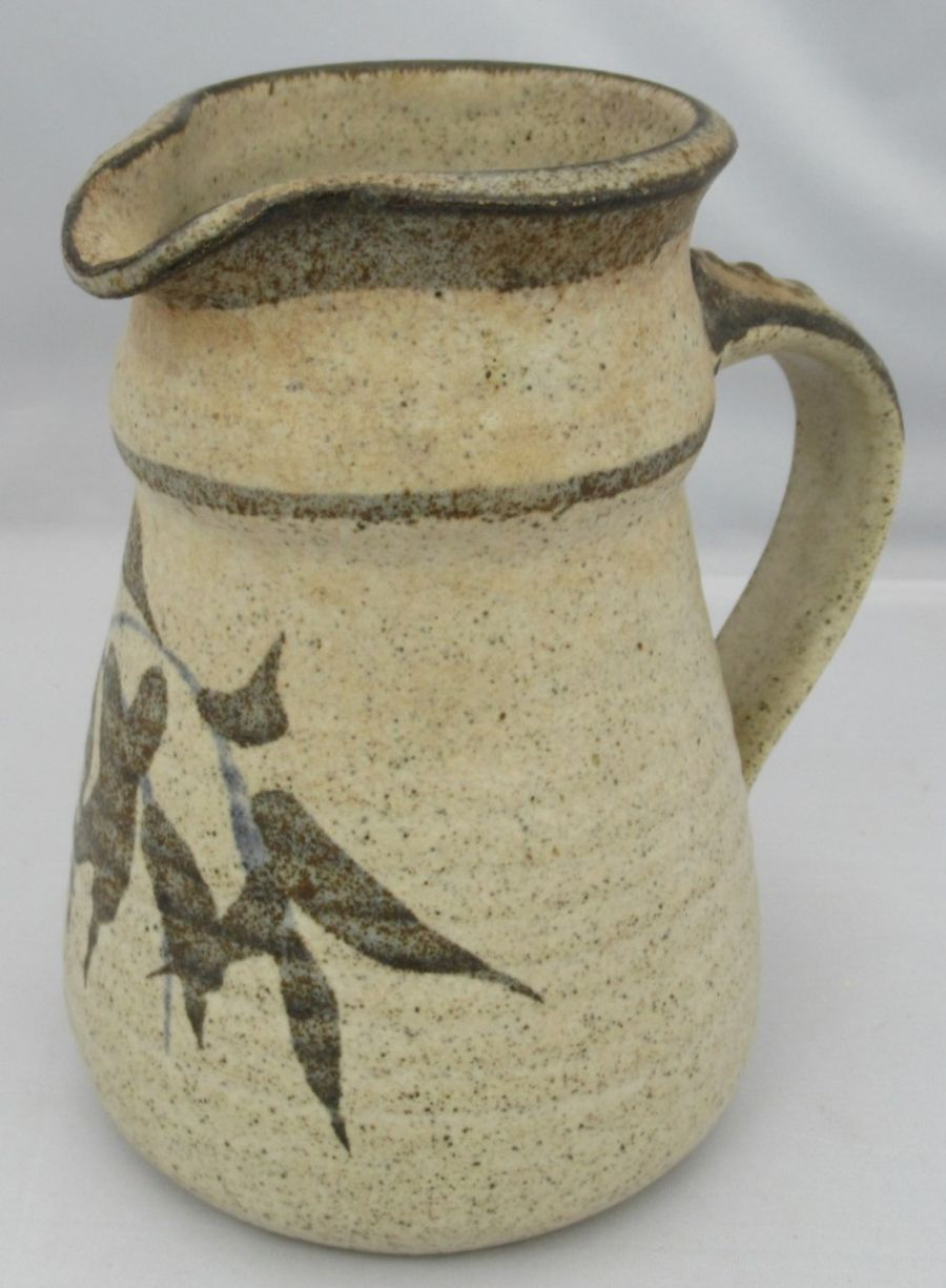 Robert Tinnyunt studio pottery hand thrown and painted stoneware jug, c1990