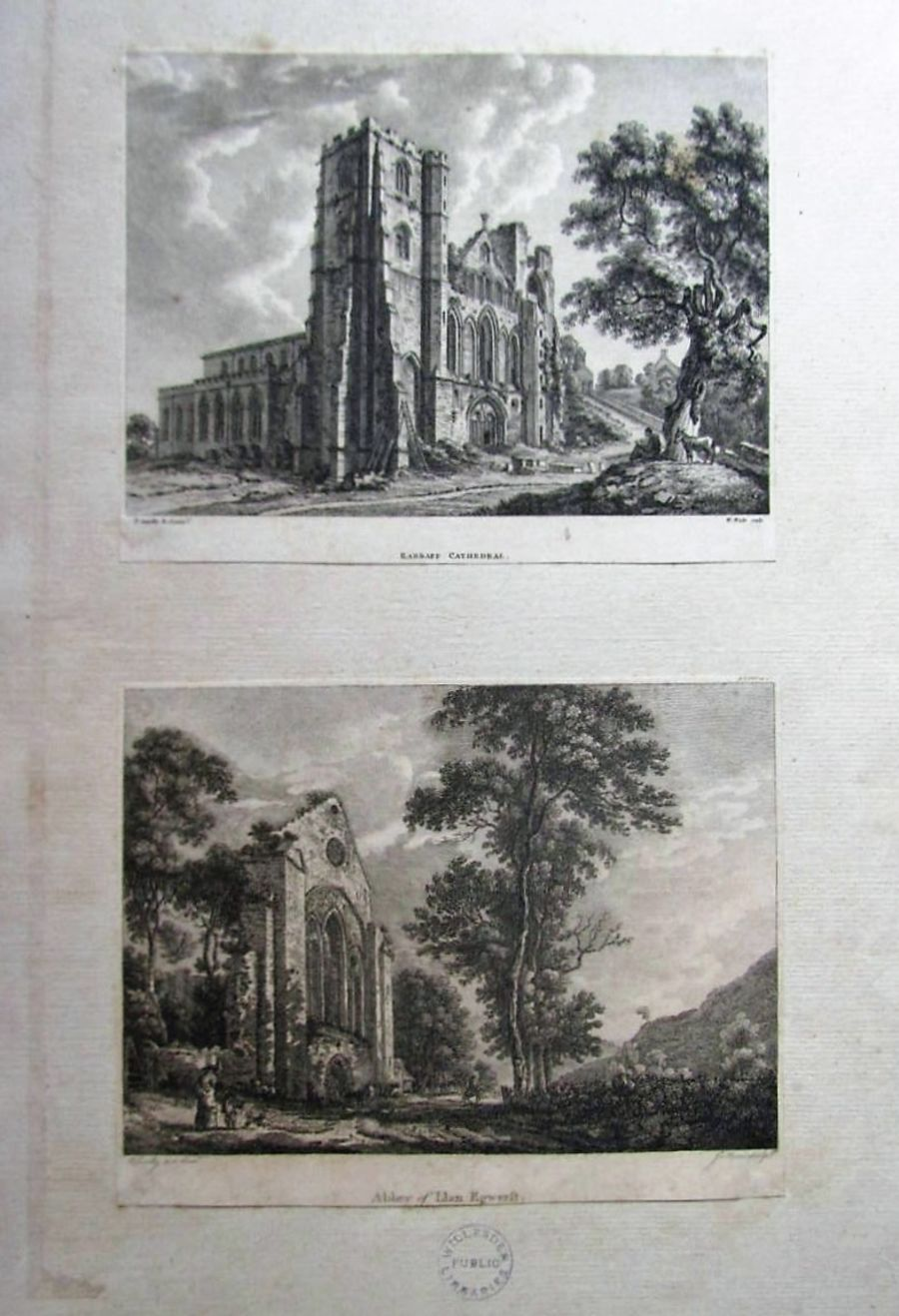Two prints after Paul Sandby c1780 Llandaff Cathedral and Abbey of Llan Egwerst