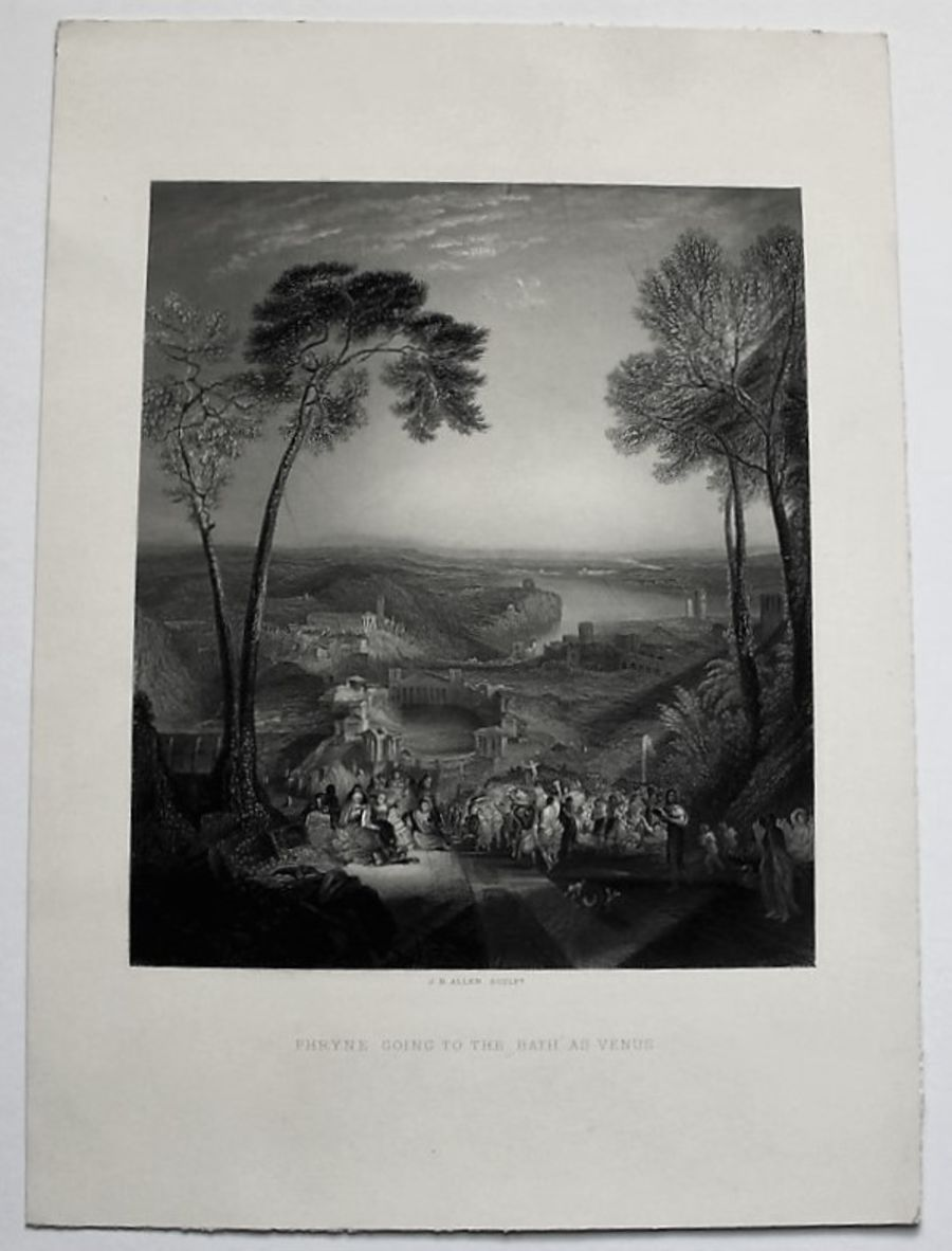 Original print, Phryne Going to the Bath, Allen after Turner 1878, unframed