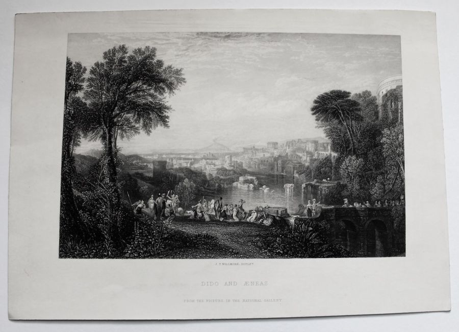 Original print, Dido and Aeneas, J T Willmore after J M W Turner 1863 unframed