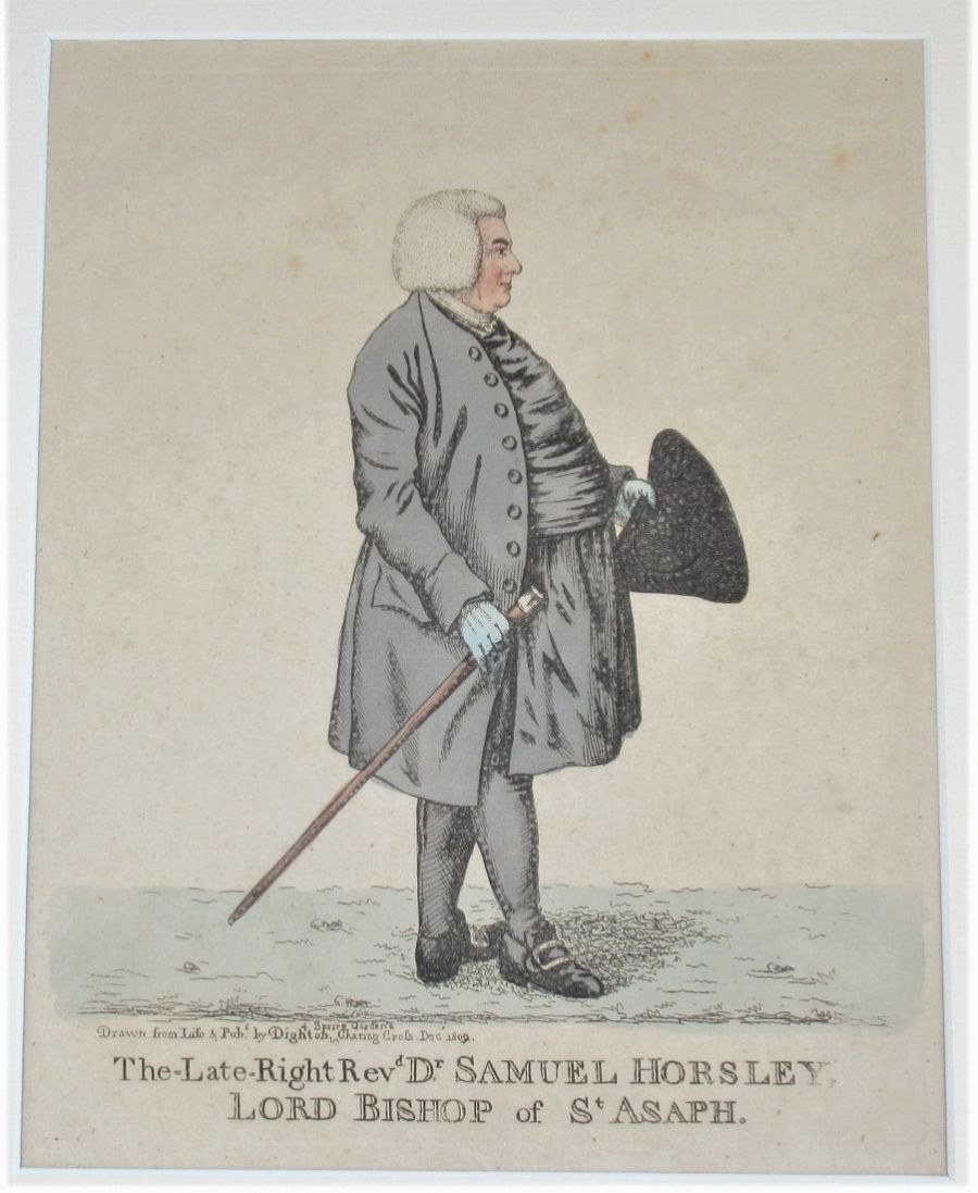 Original Robert Dighton print 1809, hand coloured etching Samuel Horsley