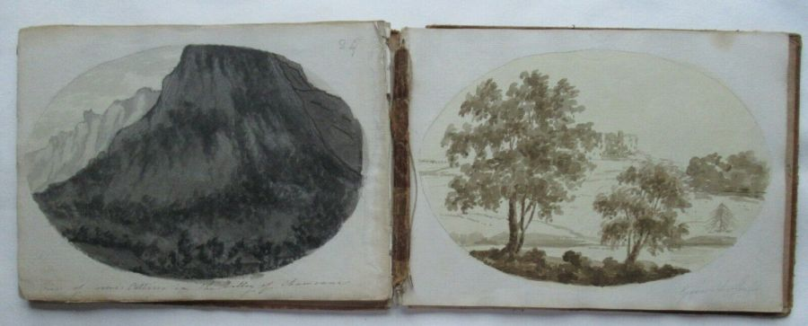 Part of a Grand Tour 18th century sketch book, 11 monochrome wash sketches
