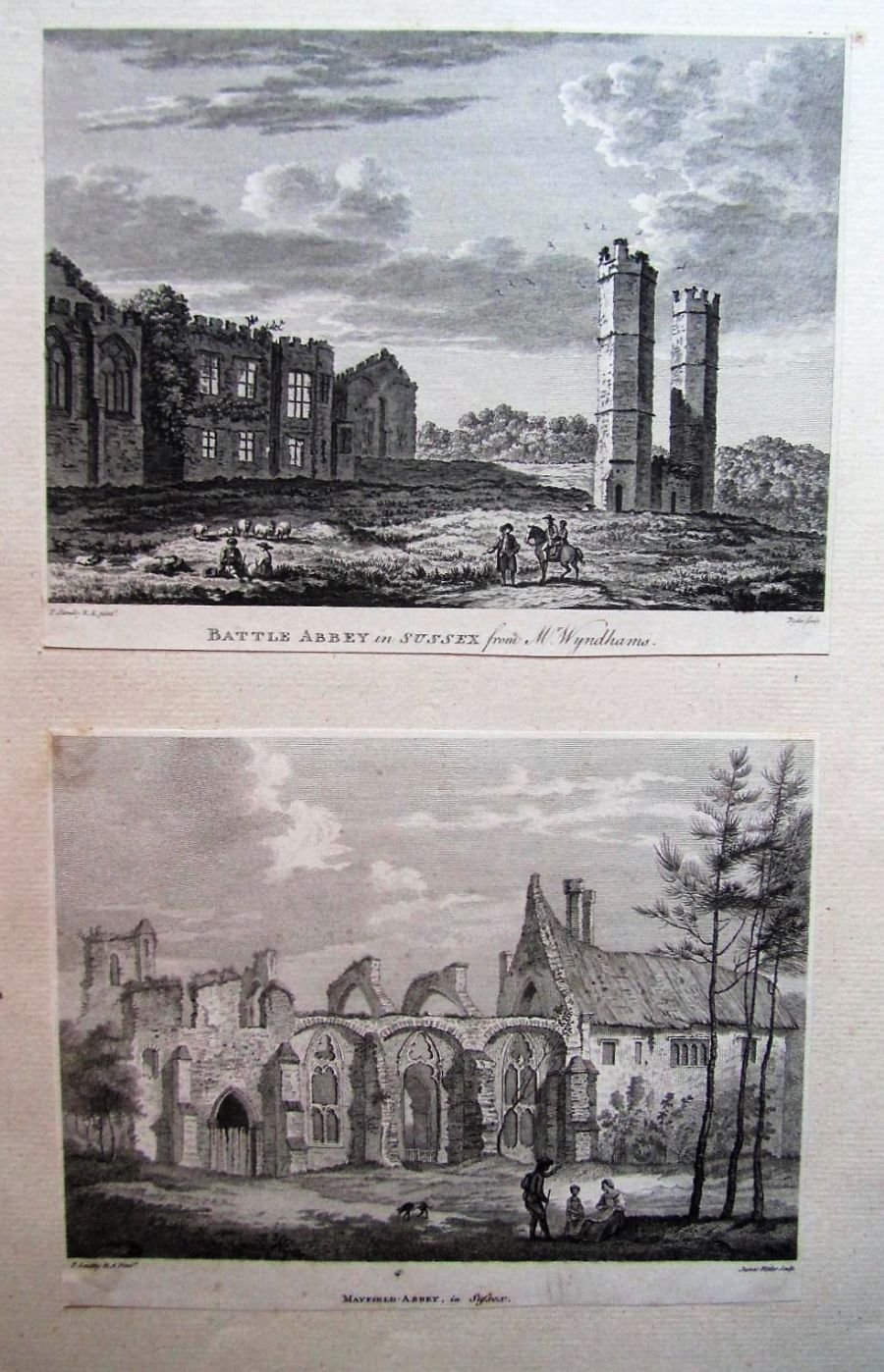 Two original prints after Paul Sandby c1780 Battle Abbey & Mayfield Abbey