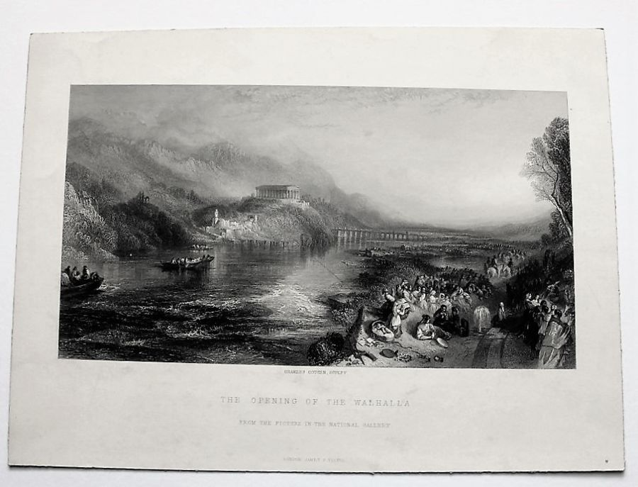 Original print, The Opening of Walhalla, Cousen after Turner 1878, unframed