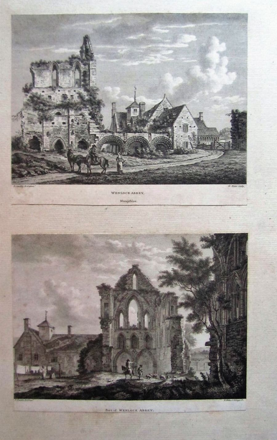Two original prints after Paul Sandby c1780 Wenlock Abbey Shropshire