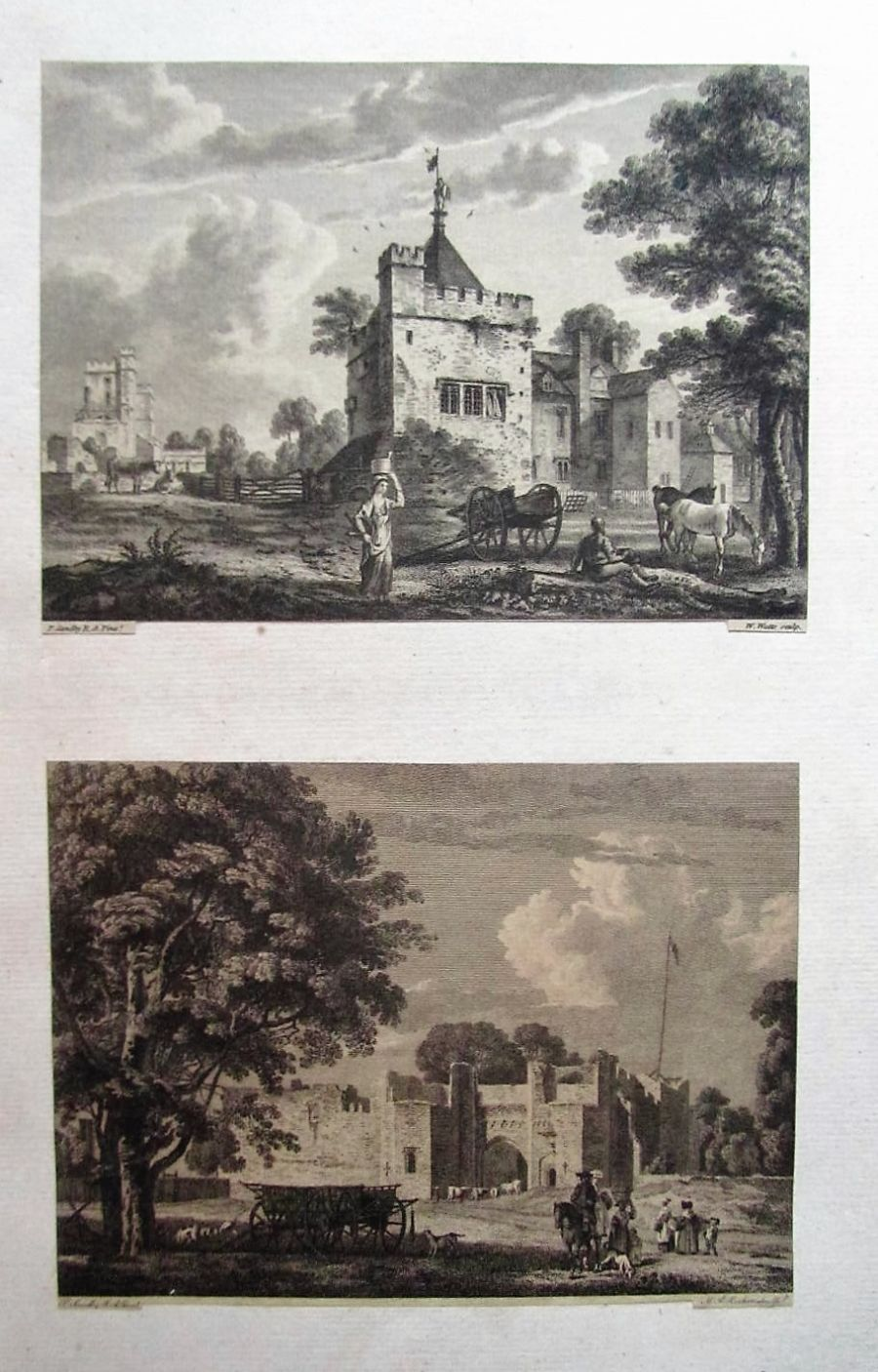 Two original prints after Paul Sandby c1780 Luton Tower etc 1st edition