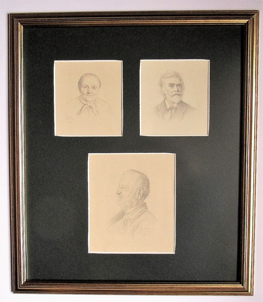 Three fine original German pencil portraits, Dresden 1884, in single frame