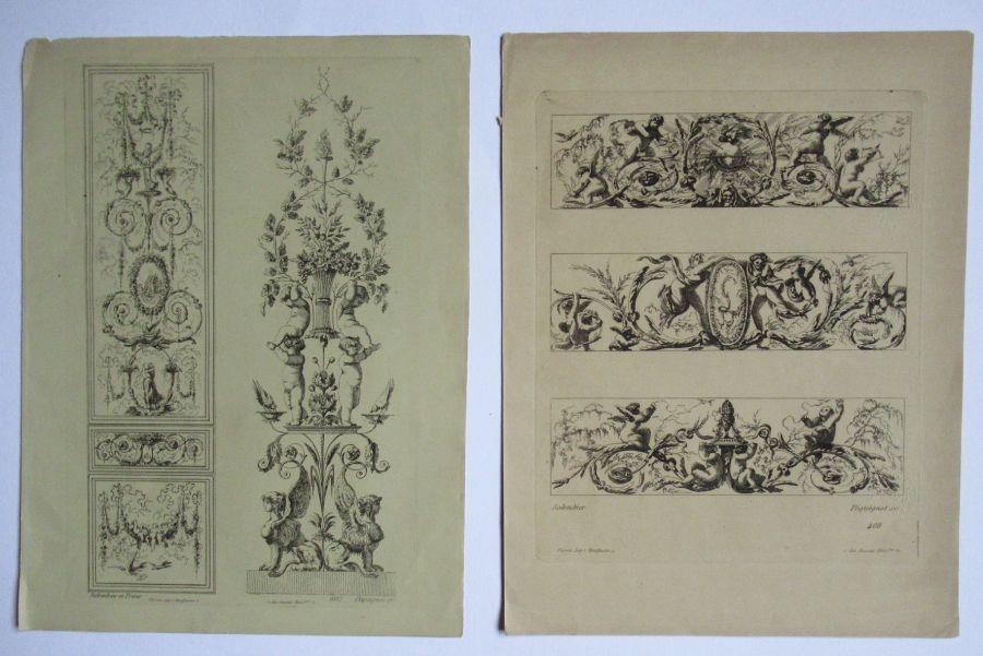 Pair of prints (gravures) architecture/ornament, Salembier & Pequegnot, c1820