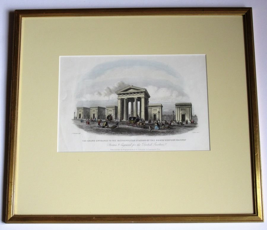 Original print c1850, Euston London Railway Station, framed