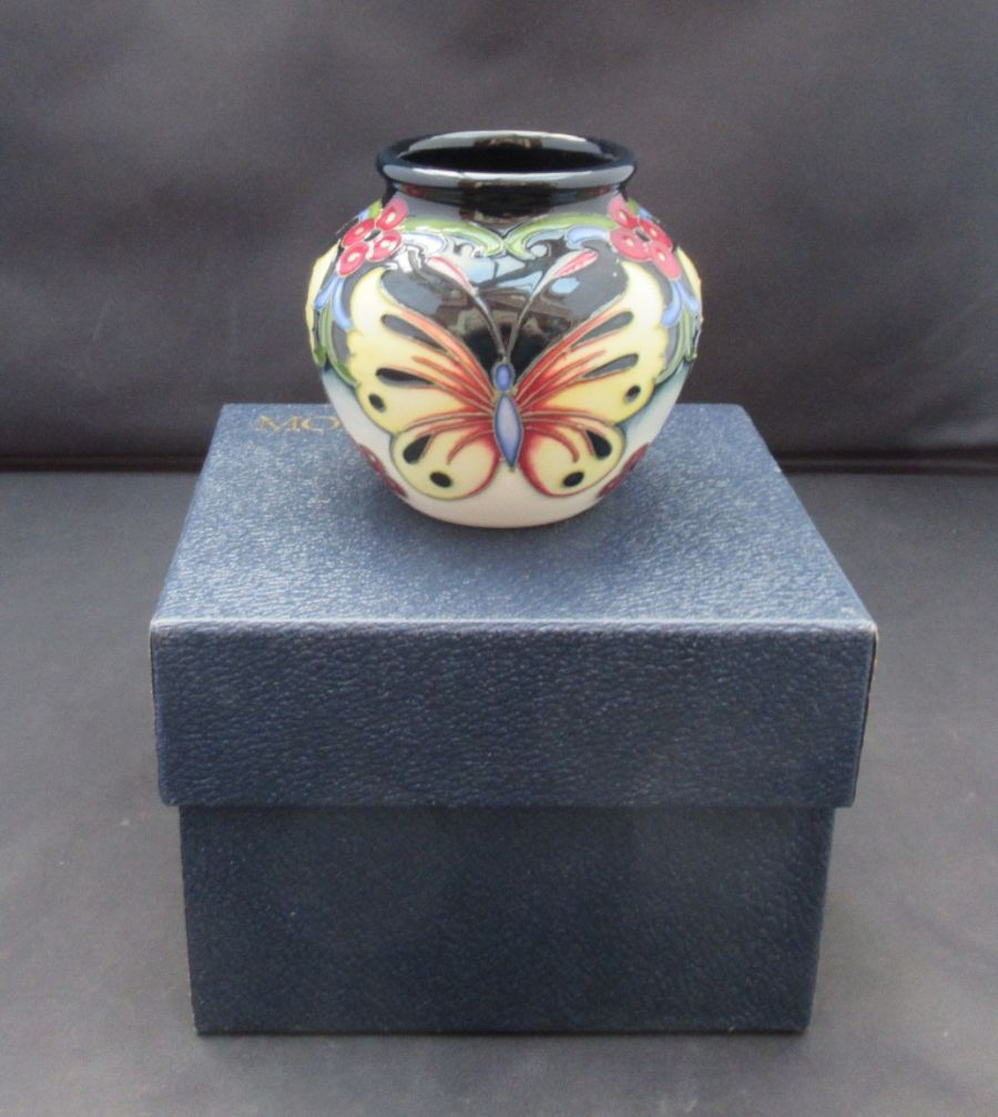 Moorcroft, Burley Butterfly by Rachel Bishop, Miniature Vase, 2008
