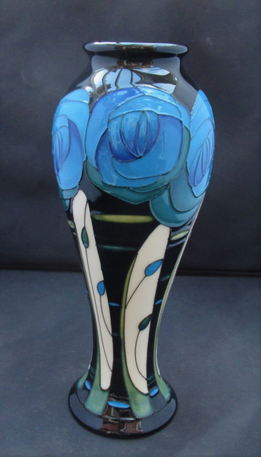 Moorcroft, Rennie Rose, Blue Colourway by Rachel Bishop, 2017