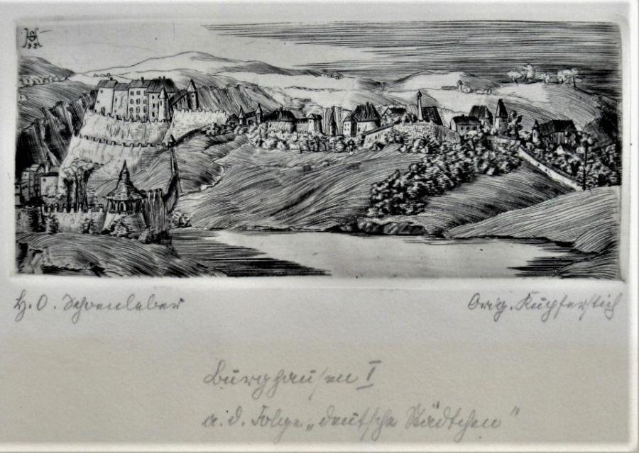 Hans Otto Schönleber (Stuttgart School, 1889-1930), 1922 engraving, Burghausen an Der Salzach I
