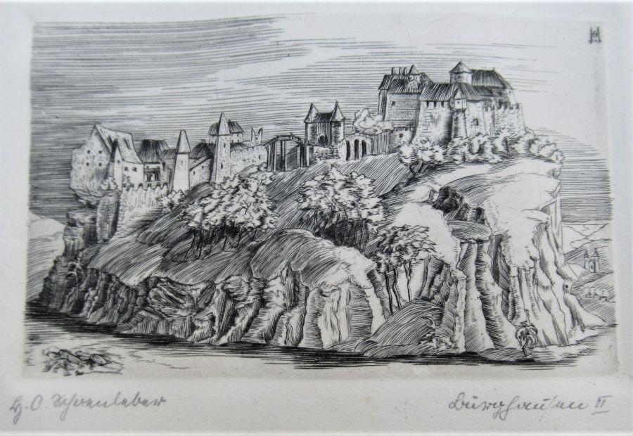 Hans Otto Schönleber (Stuttgart School, 1889-1930), 1922 engraving, Burghausen an Der Salzach II