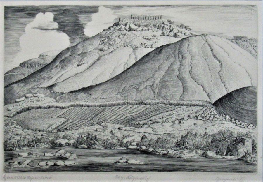 Original engraving, Hans Otto Schönleber (German), Girgenti III, 1927, unframed