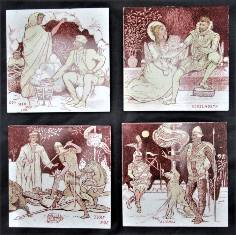 Very unusual hand painted set of four Minton tiles after John Moyr Smith, c1880