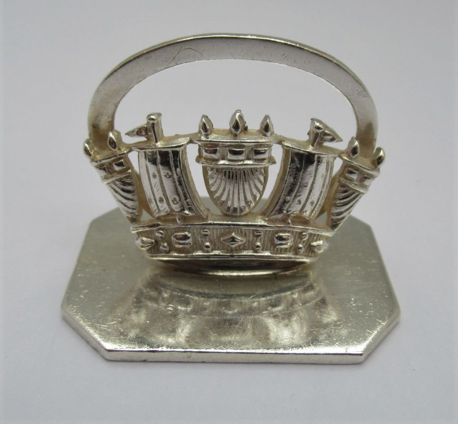 George V, Silver Royal Navy Crown Menu/Card Holder, B'ham 1935, Gieves Ltd