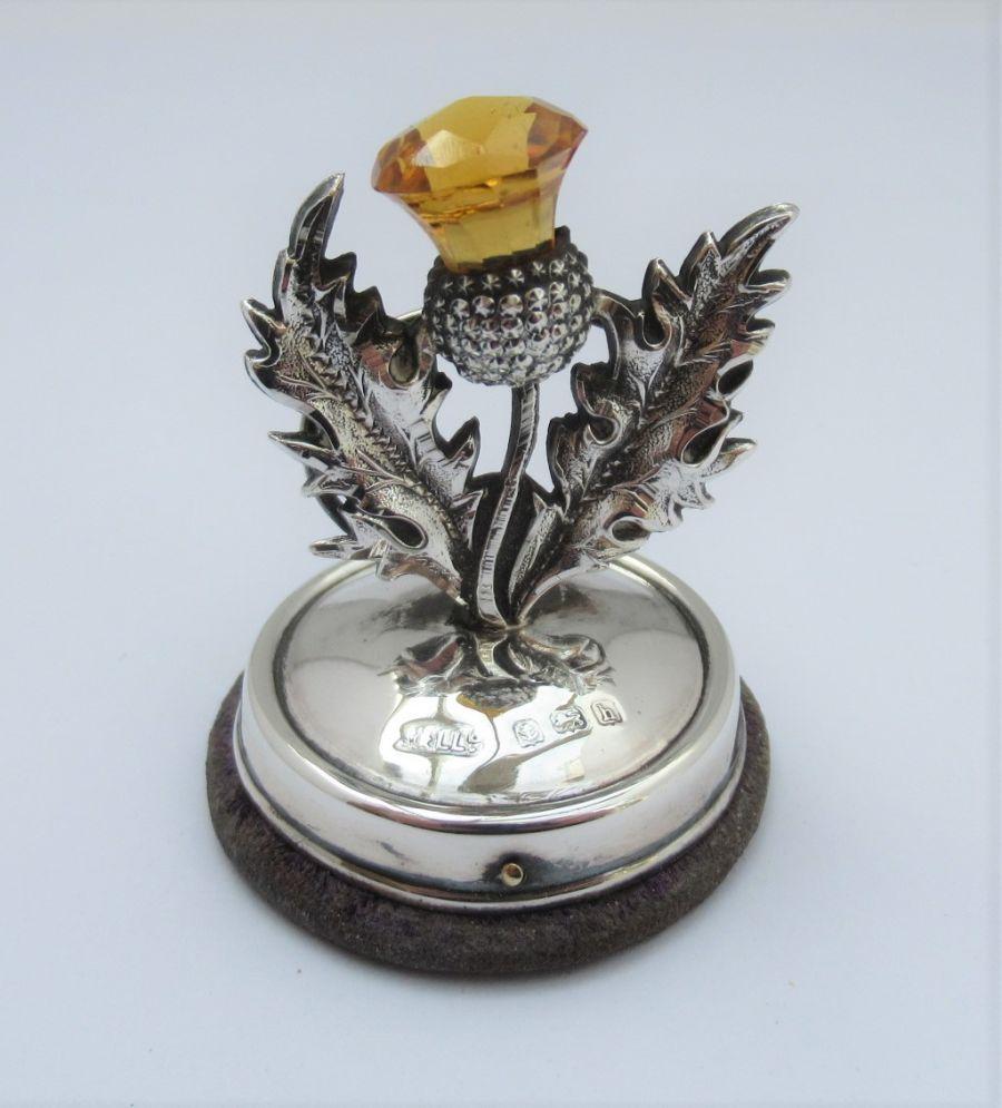 Edwardian, Silver & Citrine Thistle Menu/Card Holder, Adie & Lovekin Ltd, B'ham 1907