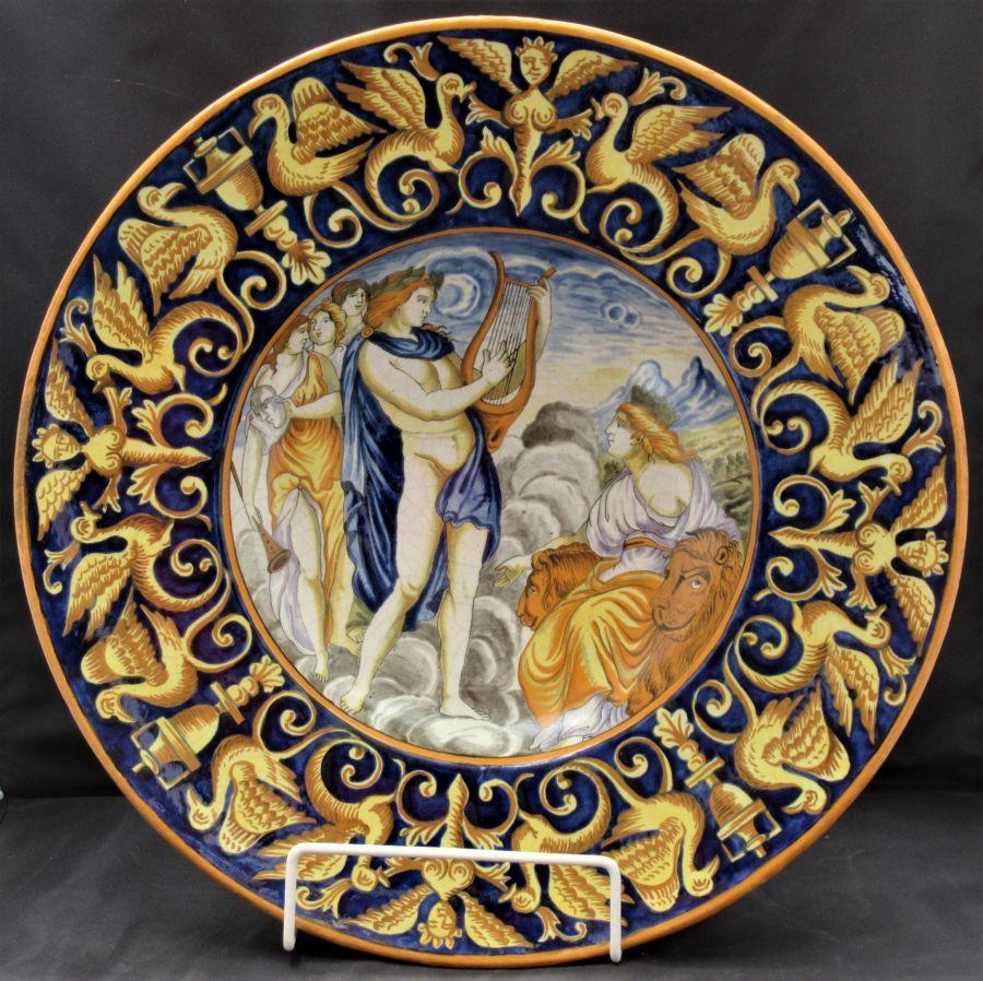 Large Italian Majolica Istoriato Dish in Original Frame, Late 19th Century, Renaissance Faenza Style